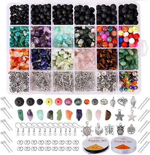 Queta DIY Cuentas de Piedra Lava Naturales, Cuentas Piedras para Fabricación abalorios Bisutería, Kit de Fabricación Joyas Bricolaje para Hacer Pulseras Pendientes Collares Regalo para Mujeres Niñas
