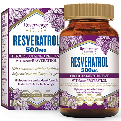 Reserveage, Resveratrol 500 mg, Antioxidant Supplement for Heart and Cellular Health, Supports Healthy Aging, Paleo, Keto, 30 capsules (30 servings)