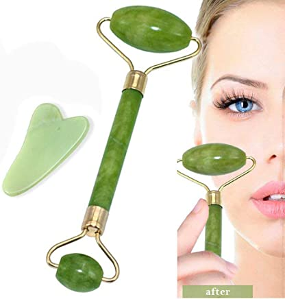 KACOOL Jade Roller Facial Massager Natural Massage Stone Anti Aging Manual Massage Tool For Face Eye Neck Foot Massage Treatment Therapy Roller Brightens Skin, Fights Wrinkles (Green)
