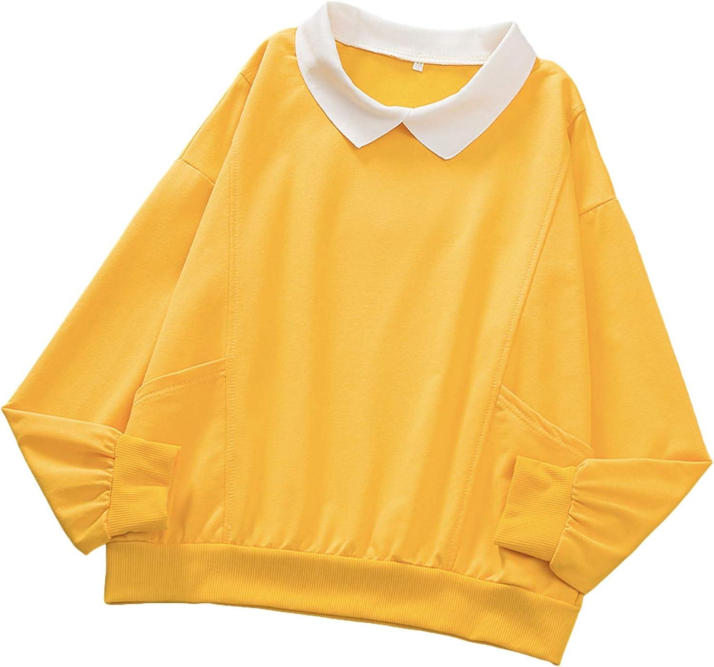 KIEKIECOO Long Sleeve Kawaii Sweatshirts Women's Turn-Down Collar Pocket Hoodies