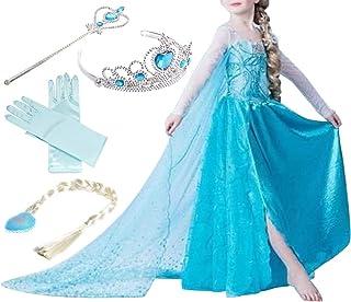 Anna Elsa Kinderkleid Mädchen Gefrorenes Kostüm Schneekönigin Prinzessin Kleid
