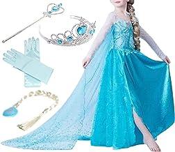 Yigoo ELSA Kleid Eiskönigin Prinzessin Kostüm Kinder Glanz Kleid Mädchen Weihnachten Verkleidung Karneval Party Halloween ...