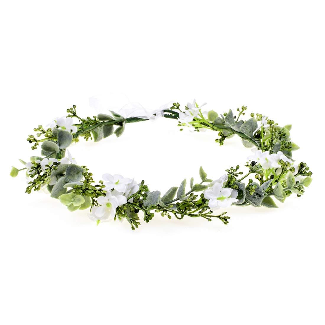 Vividsun Bridal Green Leaf Crown Bohemian Headpiece Floral Headband Photo Prop (white flower)