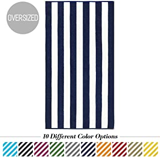 Caravalli Egyptian Cotton Beach Towel, Windsor Oversized Luxury Resort Towel with Large Stripes, Over Sized Super Soft Ulta Absorbent Striped Spa Towels, Thick Cabana Stripe Bath Towel (Navy)