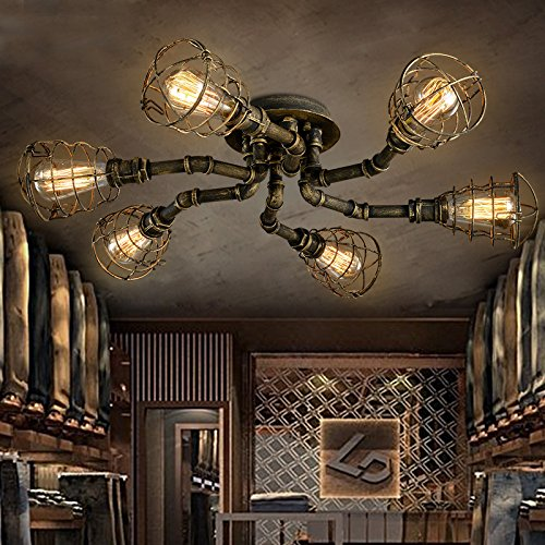 BAYCHEER Plafonnier Luminaire Design Tube Tuyau Industriel Lustre Lampe Rétro Eclairage Decoratif