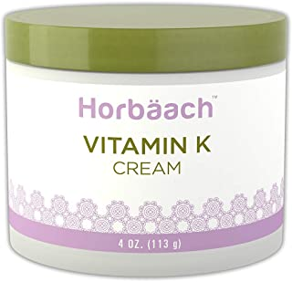 Horbaach Vitamin K Cream 4 oz | Premium Formula for Bruises, Spider Veins, Dark Circles, Broken Capillaries, Eyes, and Face | Paraben and SLS Free