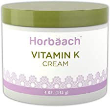Horbaach Vitamin K Cream 4 oz | Premium Formula for Bruises, Spider Veins, Dark Circles, Broken Capillaries, Eyes, and Face | Paraben and SLS Free