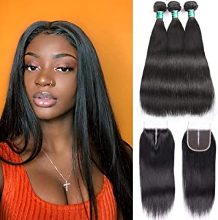 ALI GRACE Hair Brazilian Straight Human Hair 3 Bundles Deal With 4x4 Lace Closure Free Part Natural Color Remy Hair(16