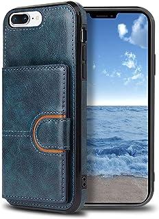 iPhone 8Plus ケース iPhone 7Plus ケース カード収納 スタンド機能 耐衝撃 全面保護 軽量 オシャレ マグネット式 PUレザー ケース ネイビー (5.5インチ) ストラップホール付き