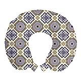 ABAKUHAUS Clásico Cojín de Viaje para Soporte de Cuello, geométrica de Estilo Victoriano, Cómoda y Práctica Funda Removible Lavable, 30x30 cm, Tierra Amarillo Azul Oscuro