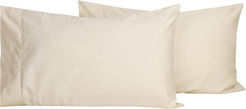 LINENWALAS 1000 TC Cotton Solid Plain Pillow Covers, 17x27-inch (Ivory) - Set of 2