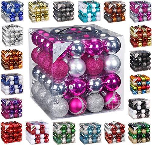 64x Kunststoff Christbaumkugeln Ø 6cm Kugel Box Glanz Glitzer Matt Dekor Inge, Farbe:Pink-Silber