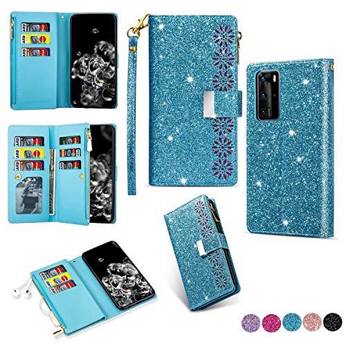Miagon Reißverschluss Brieftasche Glitzer Hülle für Huawei P40 Pro,Flip Handytasche mit 9 Kartenfächer Handschlaufe PU Leder Magnet Bling Multifunktions,Blau