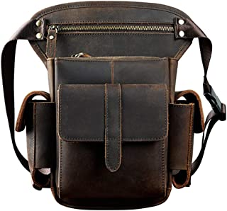Genuine Leather Bag,Bike Cycling Bag,Waist Hip Bum Fanny Backpack,Drop Leg Bag,Crossbody for Men Women