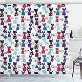 ABAKUHAUS Katzen-Druck Duschvorhang, Baby-Katzen Blumen Farben, Set inkl.12 Haken aus Stoff Wasserdicht Bakterie & Schimmel Abweichent, 175 x 200 cm, Multicolor