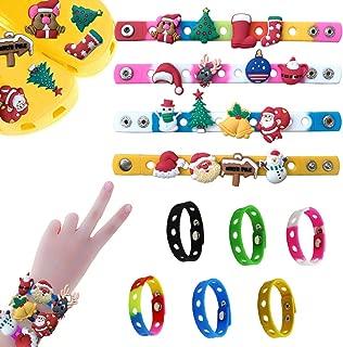 diasstro DIY 16 pcs Christmas Day,Santa Claus,Christmas Trees Shoe Charms and 6 pcs Jibbitz Bracelet Wristband Party Gifts Birthday Gifts