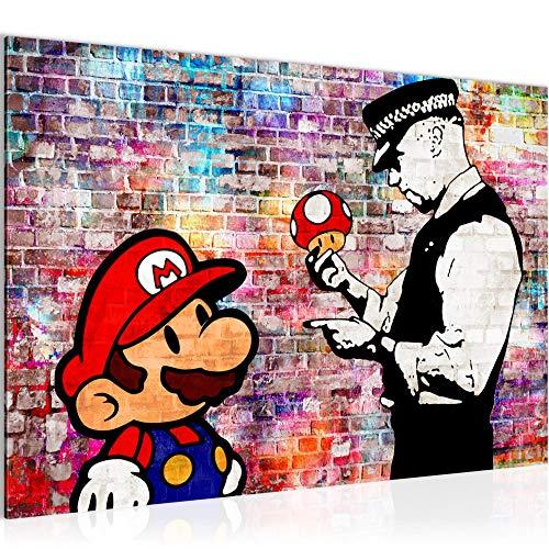 tafeldecoratie muur Banksy Mario Bros - 60 x 40 cm canvas kamer appartement met uitzicht - klaar te hangen - 303015c