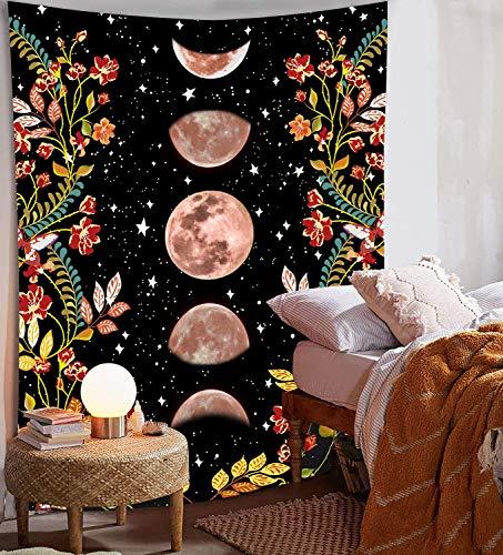 LINGXU - Tapiz para colgar en la pared, diseño de mandala de lobo, de poliéster, tamaño grande, estilo bohemio, hippie, para el hogar o el dormitorio (luna, 150.08 x 210.08 cm)