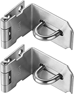 JQK 90 Degree Hasp, Stainless Steel Angle Gate Latch for Push & Sliding Door, 1.5mm Thickness Satin Nickel, 4 Inch