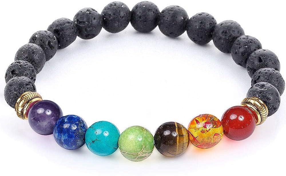 7 Super-cheap Chakra Healing Bracelet with Volcanic Mala Real New Free Shipping Lava Stones