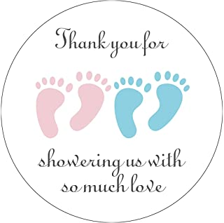 MAGJUCHE Blue and Pink It's Twins Thank You for Coming Baby Shower Stickers, Girl and Boy Little Feet Party Favor Sticker...