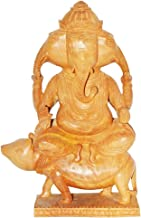 Spectacular Wooden Hand Carved Lord Ganesha Riding On his Vahan Mushak Mouse
