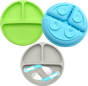 Suction Plates for Babies-3Pcs set, 100% SiliconeToddler plates,Divided Baby Plates, Dishwasher & Microwave Friendly,Food Grade Silicone Kids Plates with Spoon Fork. (Blue,Green,Gray)
