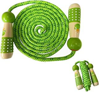 Children's wooden handle skipping rope, adjustable wooden feel and woven cotton, suitable for children's skipping rope, can be used for physical exercise, school games or outdoor activities, green