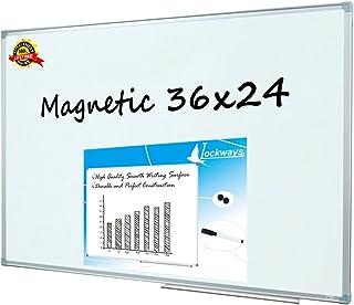 Lockways Magnetic Dry Erase Board - Magnetic Whiteboard/White Board 36 x 24 Inch, 1 Dry Erase Markers, 2 Magnets for Schoo...