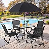 Vongrasig 6 Pieces Folding Patio Dining Set, All Weather Small Metal Outdoor Table and Chair Set, Garden Patio Furniture Set w/Umbrella, Glass Table & 4 Folding Chairs for Lawn, Deck, Backyard, Black