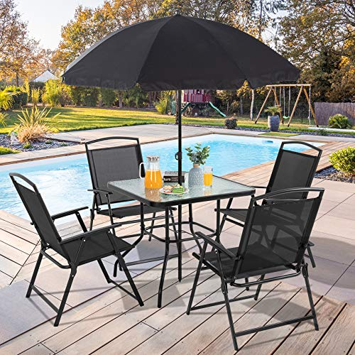 Vongrasig 6 Piece Folding Patio Dining Set, All Weather Small Metal Outdoor Table and Chair Set, Garden Patio Furniture Set w/Umbrella, Glass Table & 4 Folding Chairs for Lawn, Deck, Backyard, Black