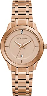 Wittnauer Continental Women's Quartz Diamond Accent Date Display Rose Gold-Tone Bracelet 32mm Watch WN4104