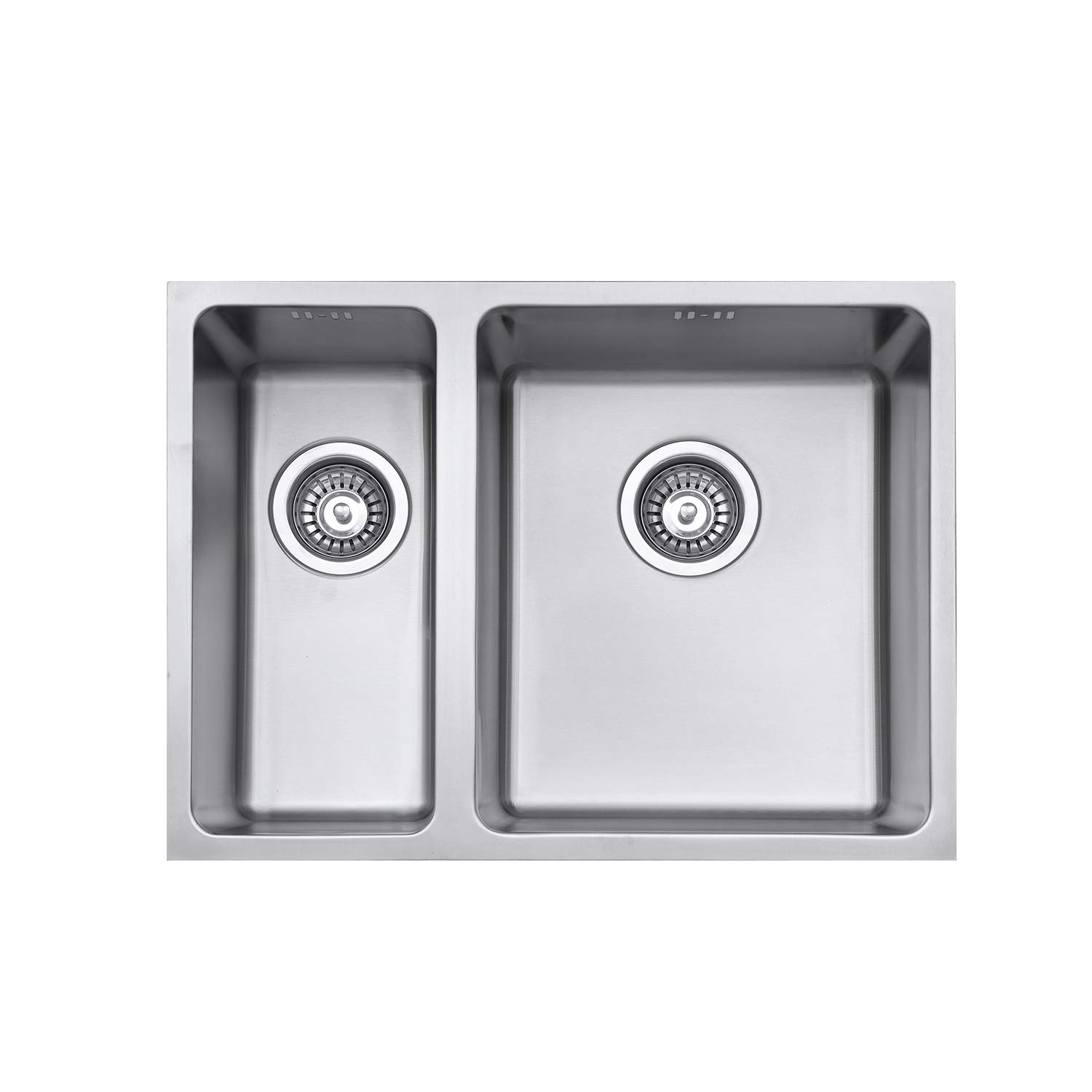 Jass Ferry Undermount Stainless Steel Kitchen Sink 1 5 One Half Square Bowls Left Hand Smaller Bowl 590 X 440 Mm Buy Online In India At Desertcart In Productid 162071990