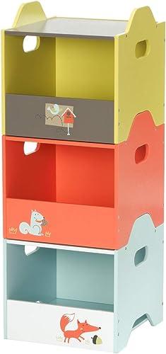 HONNIEKIS Caja de Madera Almacenamiento Infantil - Lado Abierto,Cajas de Almacenamiento apilables de 3 Colors para Juguetes, Juguetes, guardería, Ropa para bebés y Organizador de Libros.