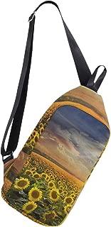 Lovexue Sling Bag Field with Sunflowers Mens Chest Shoulder Backpacks Crossbody Single Bag Pack