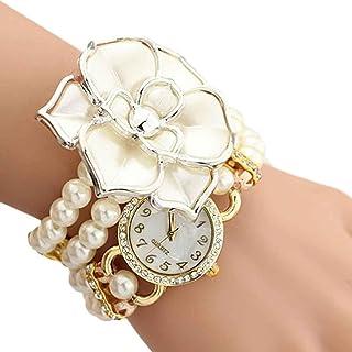 AMA(TM) Women Elegant Flowers Pearl Wrapped Bracelet Watch Quartz Wristwatch Decorative Gifts (White)