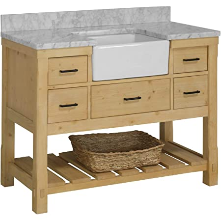 Charlotte 48-inch Farmhouse Bathroom Vanity (Carrara/Driftwood): Includes Driftwood Cabinet with Authentic Italian Carrara Marble Countertop and White Ceramic Apron Sink