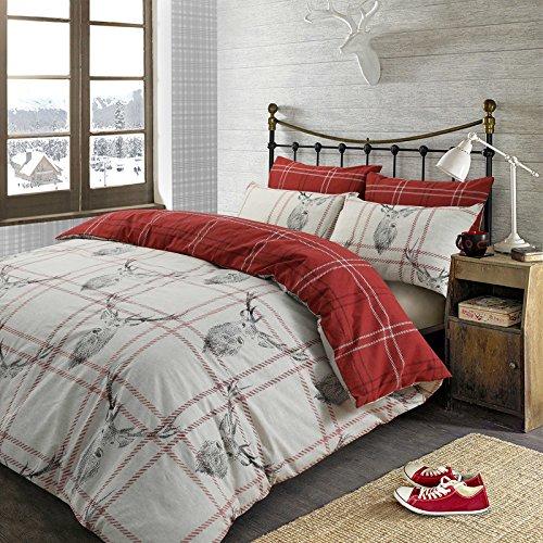 Dreamscene Bettwäsche-Set mit Hirschmotiv, für King-Size-Bett, Material Polyester, 50% Baumwolle, Reversibel Rot/Weiß/Grau Hirsch