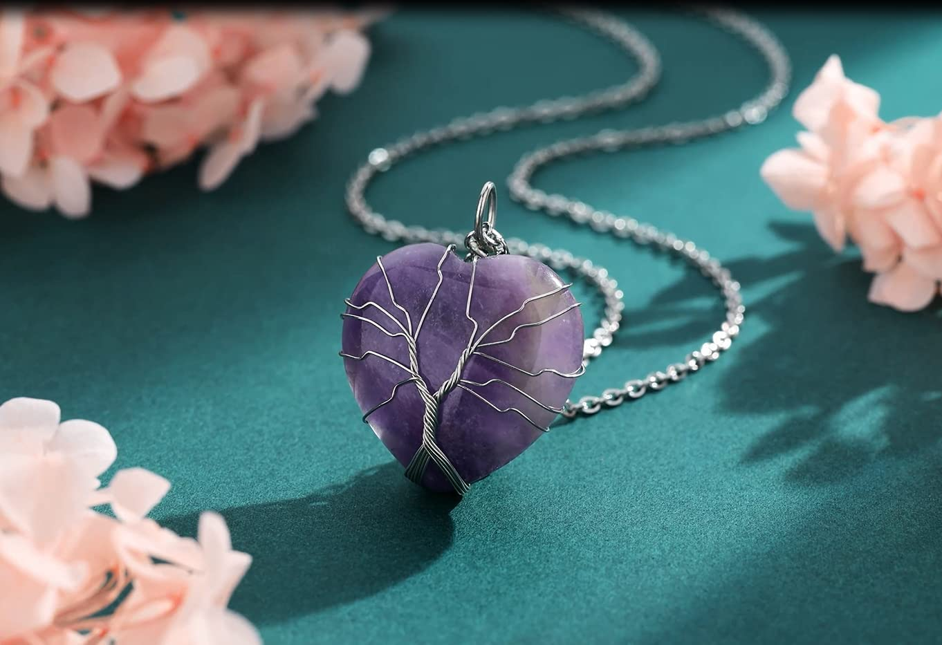 Buy XIANNVXI Amethyst Necklace Healing Crystal Stone Necklaces ...