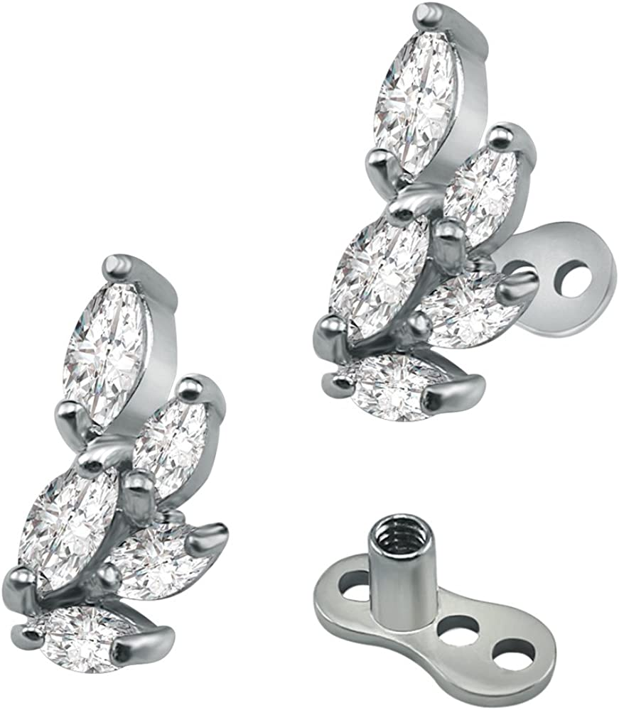 14g Leaf Flower Cubic Zirconia Dermal Anchor Tops and Base Surgical Steel Microdermals Body Jewelry