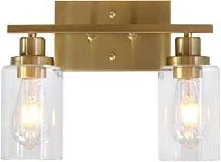MELUCEE 2-Light Wall Sconce Brass Vanity Light Fixture Modern Style with Clear Glass Shade for Bathroom Hallway Bedroom Living Room Kitchen