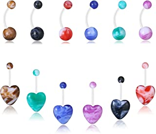 PiercingJ 12pcs Mixed Acrylic UV Ball Heart Belly Button Rings 14G Flexible Sport Navel Rings Retainer 8mm 5/16 Barbell Body Piercing Jewelry