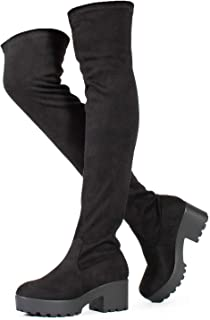 Womens Thigh High Platform Boots Sexy Chunky Block Heel Stretch Pull on Over The Knee Tall Boots