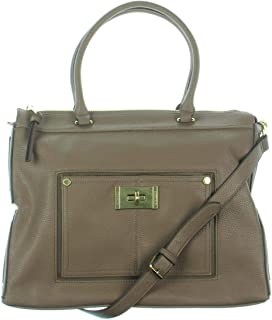 Womens Faux Leather Logo Satchel Handbag