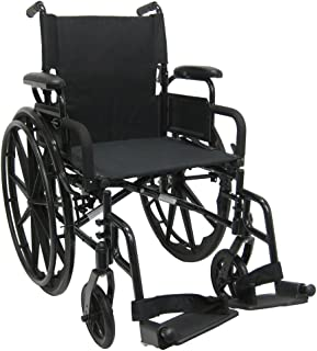 Karman Healthcare 802-DY-E Aluminum Lightweight Wheelchair with Flip Back Armrests with Elevating Legrests, Black, 18
