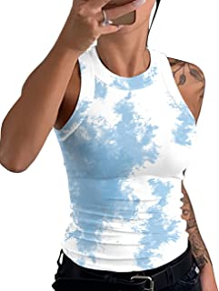 MEIVSO Women's Crop Tank Tops Active Workout Racerback Ribbed Sleeveless Tie Dye Shirts