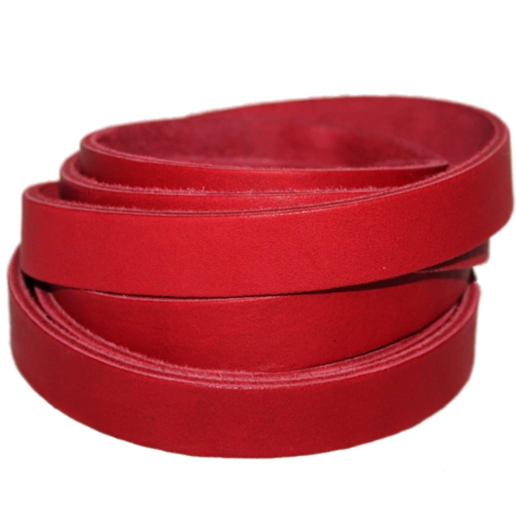 Leather Strap 7/8 Inch Wide 72 Inches Long by TOFL (Cardinal Red)
