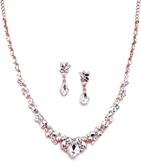 Mariell Glamorous Blush Rose Gold Crystal Necklace & Earrings Jewelry Set for Wedding, Prom & Bridesmaids