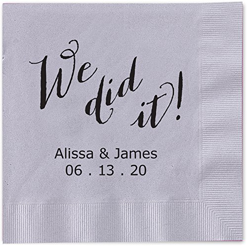 We Did It Personalized Luncheon Dinner Napkins - Canopy Street - 100 Custom Printed Silver Gray Paper Napkins with choice of foil stamp (5856L)