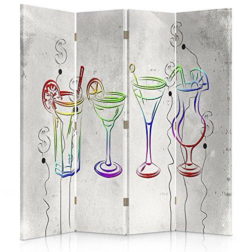 Feeby Frames. Raumteiler, Ggedruckten aufCanvas, Leinwand Wandschirme, dekorative Trennwand, Paravent einseitig, 4 teilig (145x150 cm), Glas, MULTIFARBE, MODERN, DOLLARSYMBOL,